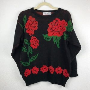 Vintage 80's Black Sweater With Roses Size Small